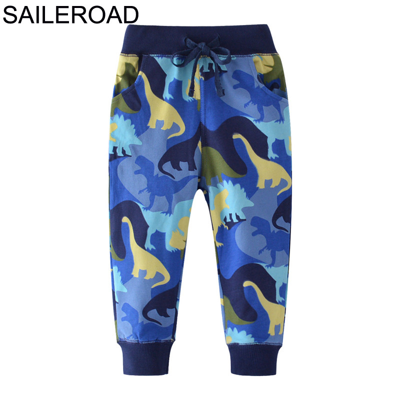 SAILEROAD Dinosaur Pattern Winter Pants for Boys Fall Children Sport Pants for Kids Clothes Baby Boys Sweaterpants for 6 Years 1