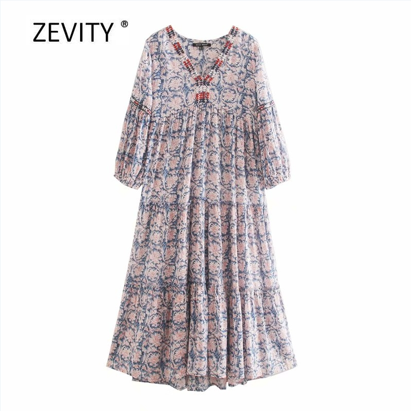 Zevity Women vintage embroidery v neck totem flower print casual loose dress female lantern sleeve Chic straight Dresses DS4080