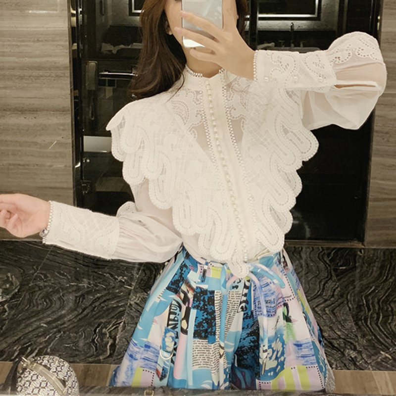 [LIVIVIO] Embroidery Lace Ruffled Lantern Long Sleeve Stand Neck Single Breasted Shirts + Mini Skirt Women Two Piece Sets
