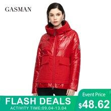 GASMAN 2021 Designer Spring Warm Cotton parka Women Coat Short fashion casual Stand-up Collar hooded Women's Autumn jacket 81070