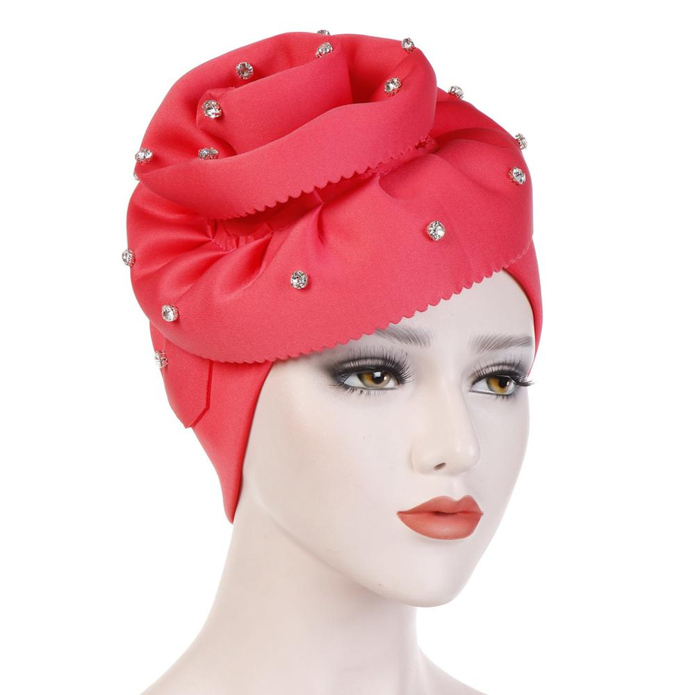 Women Crystal Big Flower Turban Cap Hijab Chemo Hair Covers Indian Hat Muslim Bandanas Autumn Elegant Party Hair Accessories