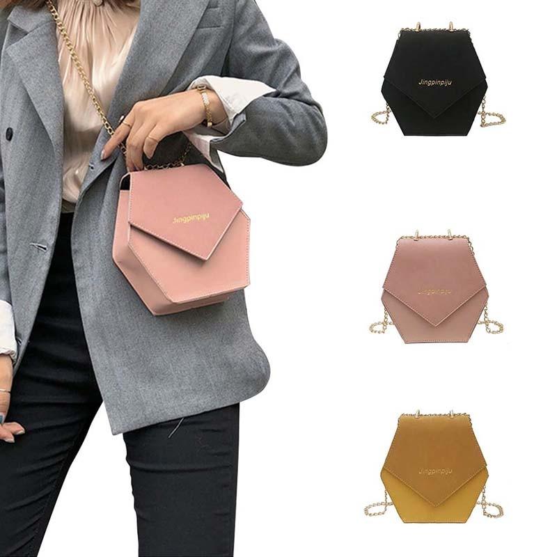 High Quality Hexagon Shaped Girl Handbag Evening Bag Women Luxury Handbag Personality Bag Letter Decoration Synthetic PU Leather