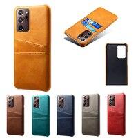 Funda rígida de cuero PU para Samsung Galaxy, carcasa con soporte para tarjetas, S21, S20, FE, S10, lite plus, Note 10, 20, ultra, A52, A72, A32, A42, A12, A02S