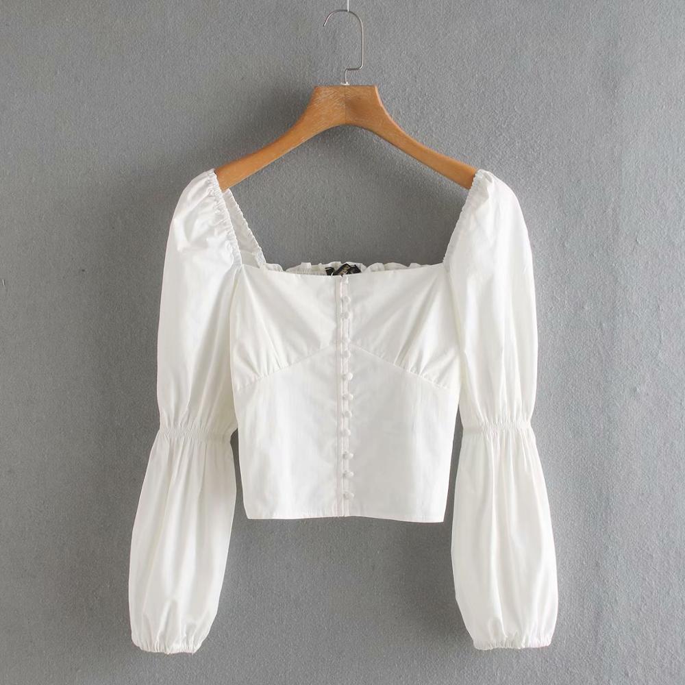 Women Court Style Square Collar Buttons Casual Short Blouse Shirt Women Retro Back Elastic Chic Chemise White Blusas Tops LS6433
