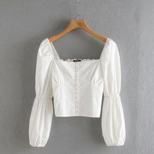 women court style square collar buttons casual short blouse shirt