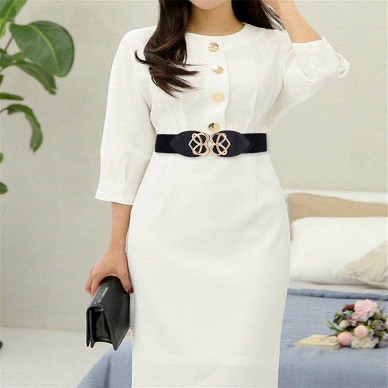 Women Gold Buckle Wide Belt Stretch Elasticated Waist Belt  Love Heart Buckle Dress Decorative Waist Seal Waistband