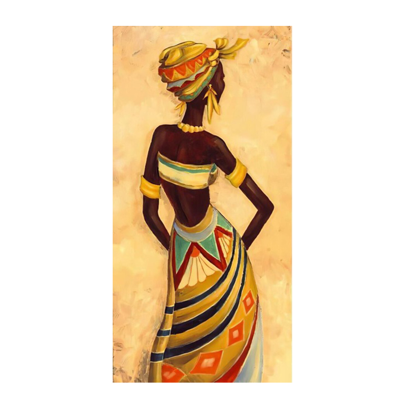 Beautiful African Woman Art Black and Gold Colour Paintings Printed on Canvas 7