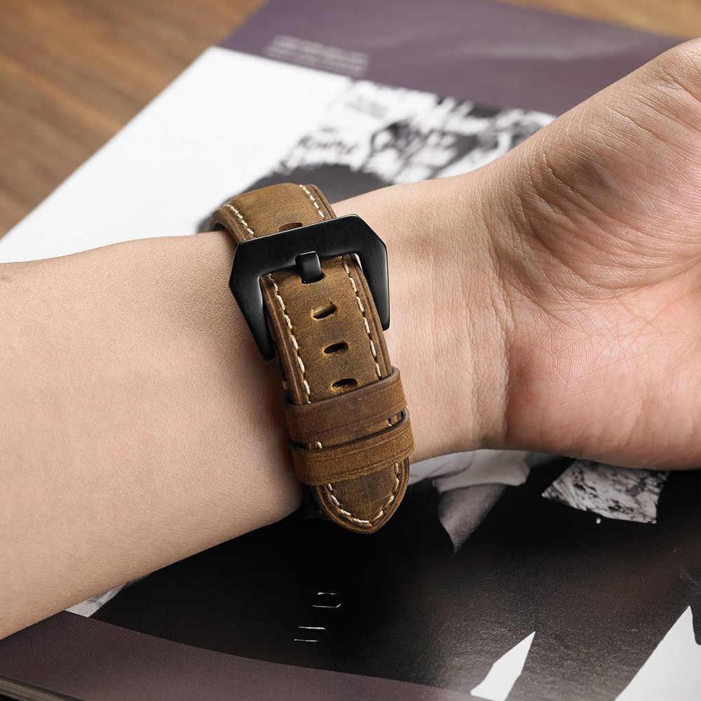 20mm 22mm עור רצועת להקת עבור Amazfit Huawei סמסונג הילוך S3 Frontier שעון אמיתי רצועת עור החלפת רצועות