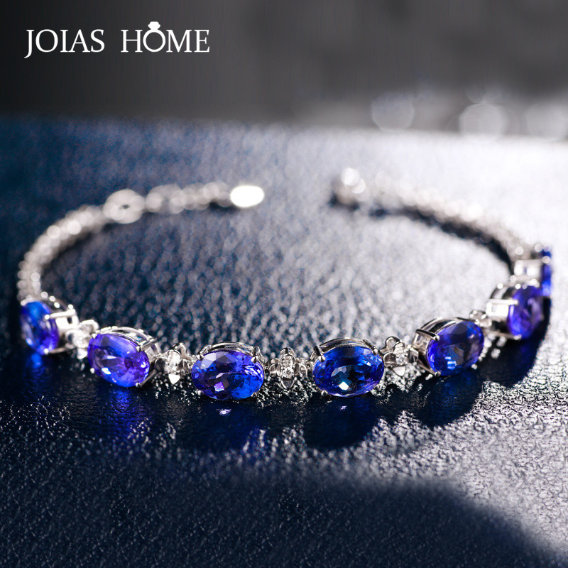 JoiasHome Fashion 925 Sterling Silver Bracelet with Oval Shape Sapphire Gemstone Jewelry for Women Wedding Party Gift wholesale