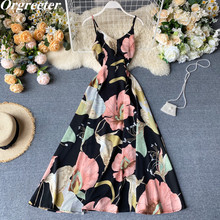Seaside holiday Dresses Charming flowers Printted Backless Bow Lace-up Slim Big