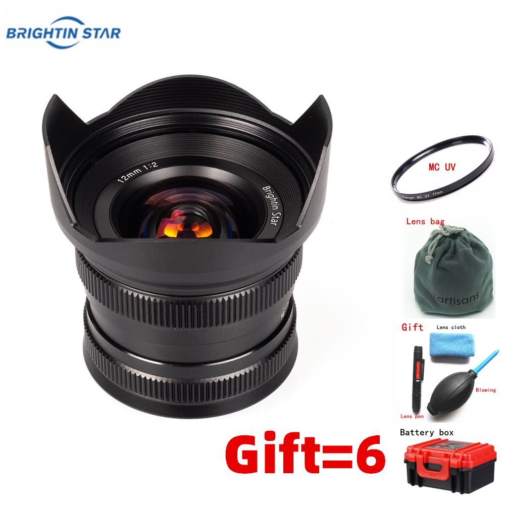 Слишком много звезда 12mm-F2.0 широкоугольный объектив с фиксированным фокусом для Canon EF-M sony E a6000 a6500 Fuji FX XT2 XA3 M4/3 EM10II GF10 EM5 объектив