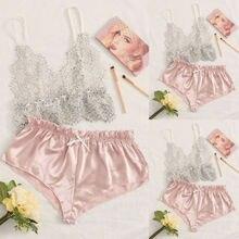S-XL Women's Sleepwear Sexy Satin Pajama Set Floral Lace V-N