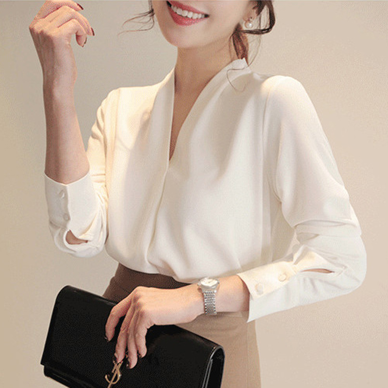 Women Shirts Long Sleeve Solid White Chiffon Office Blouse Women Clothes Womens Tops And Blouses Blusas Mujer De Moda 2021 A403|Blouses & Shirts| - AliExpress