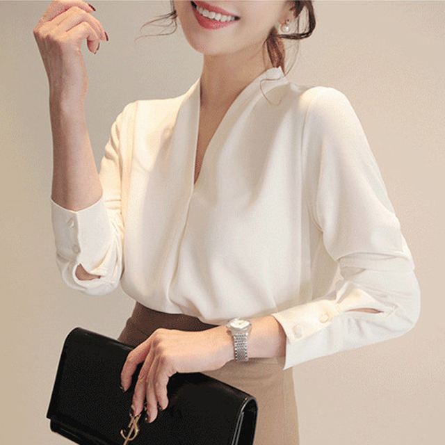 Women Shirts Long Sleeve Solid White Chiffon Office Blouse Women Clothes Womens Tops And Blouses Blusas Mujer De Moda