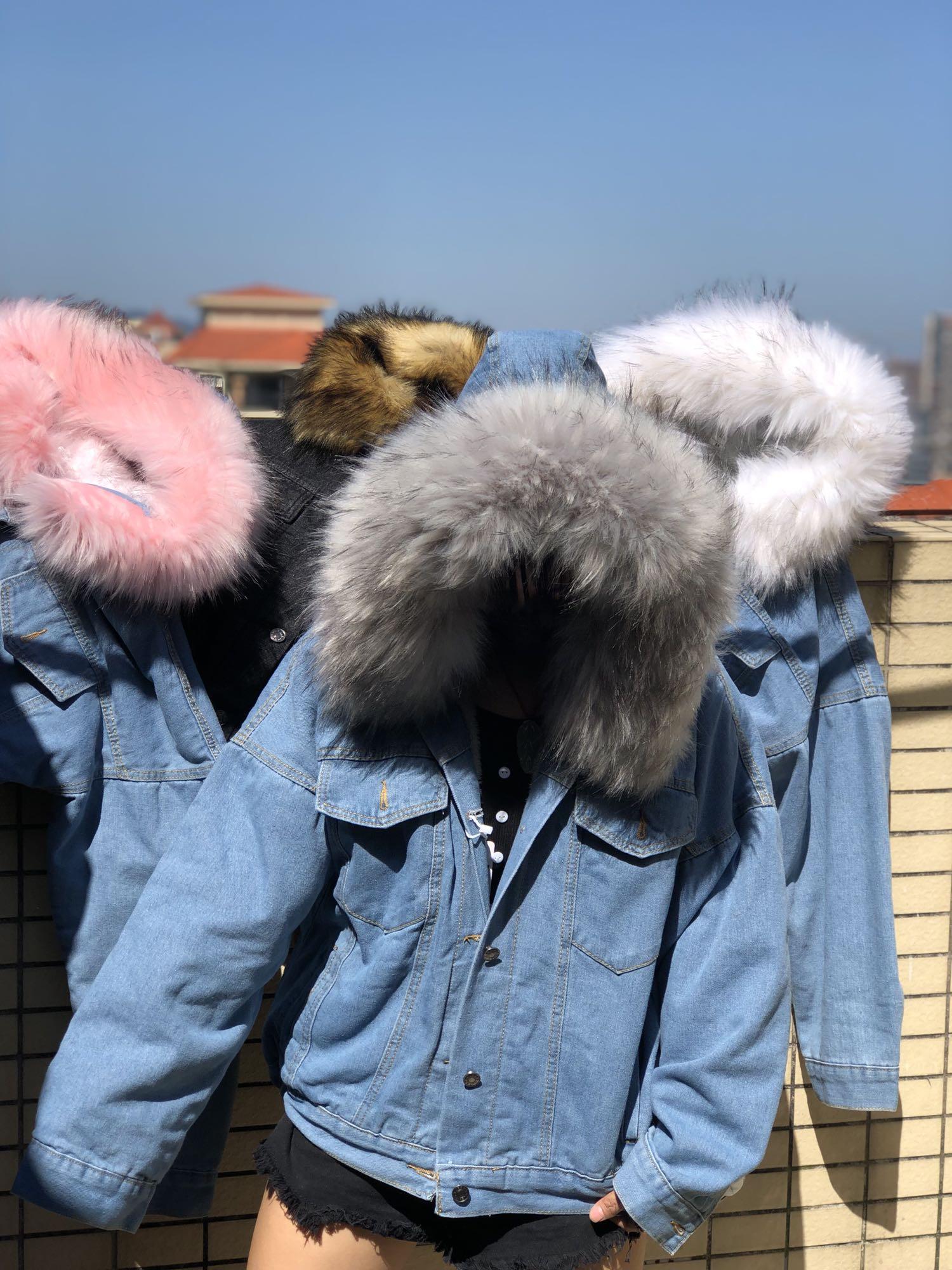 Hc16086f8328446b2a191922ef89cc0b3O LUZUZI 2019 New Warm Winter Bomber Women Winter Autumn Hooded Girls Coat Jeans Denim Jackets Basic Ladies Top Windbreaker Female