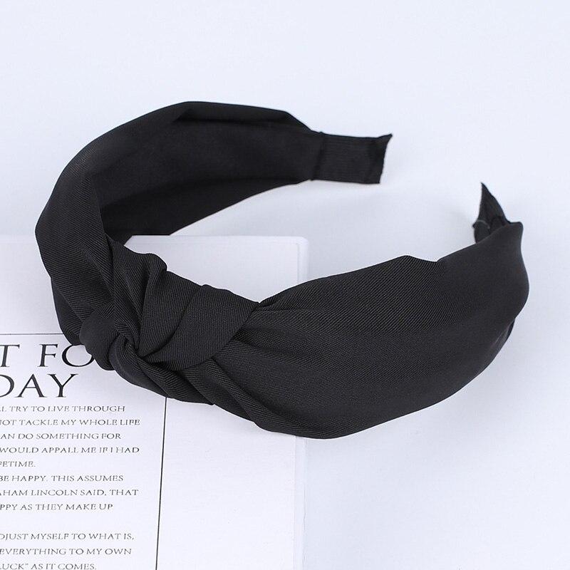 Couleur unie noeud bandeaux pour femmes Simple tissu filles bandeau femmes cheveux accessoires large côté bandeau 50