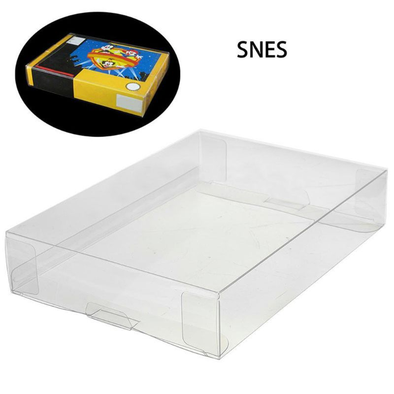 1pc Custom Clear PET Box Pro Protectors Game Case Sleeves Covers For SNES N64 CIB Boxed Games image