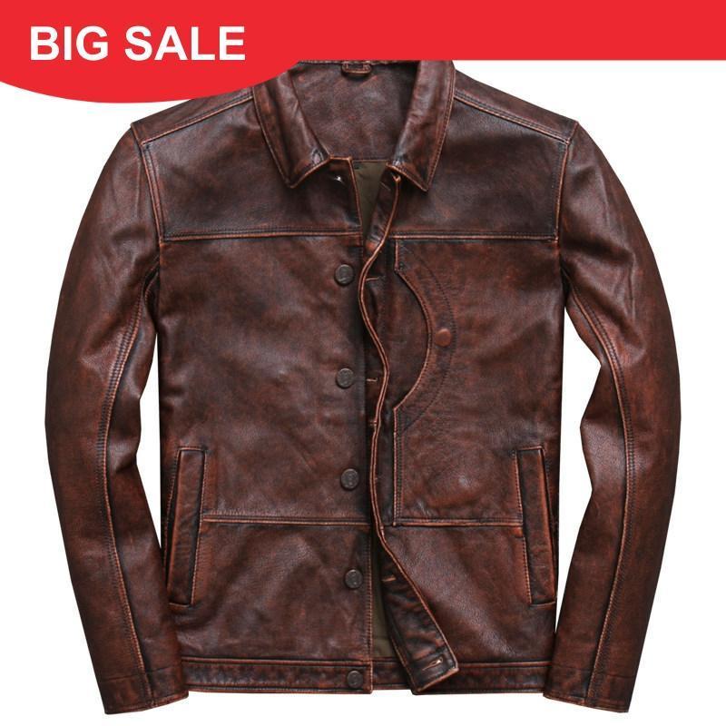 2020 vintage marrom masculino inteligente casual jaqueta de couro único breasted plus size xxxl genuíno casaco russo frete grátis