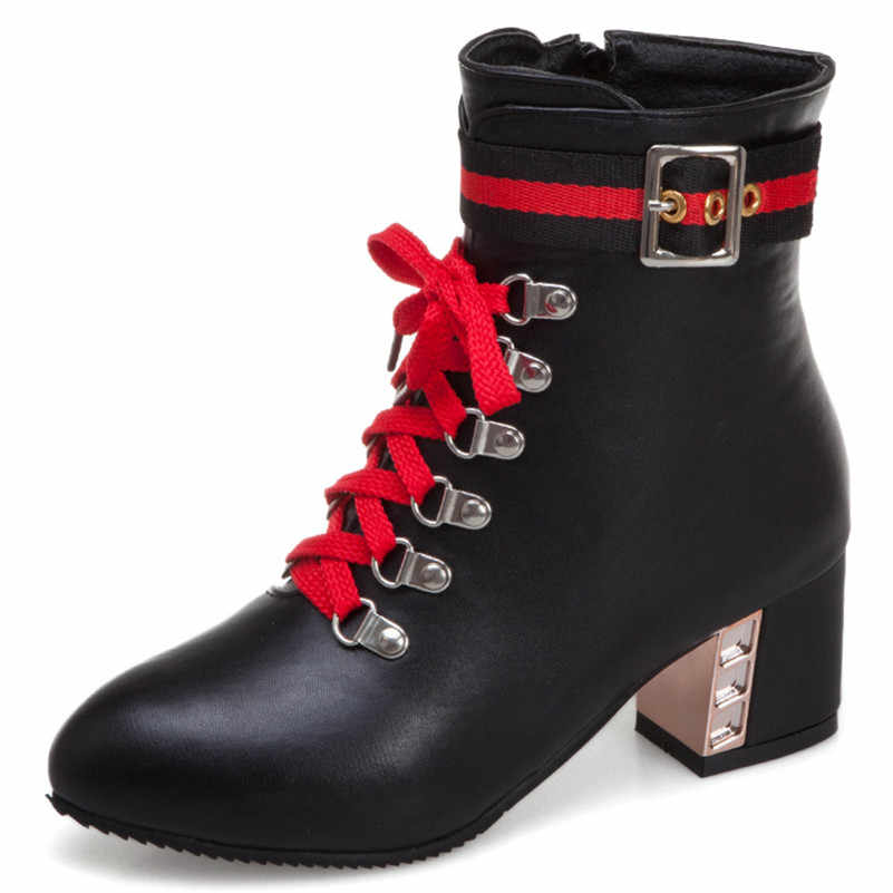 FEDONAS Kadın Yeni Moda Karışık Renkler Pu Deri Yüksek Topuklu Parti Ofis Ayakkabı Kadın Çapraz Bağlı Kadın Artı Boyutu yarım çizmeler