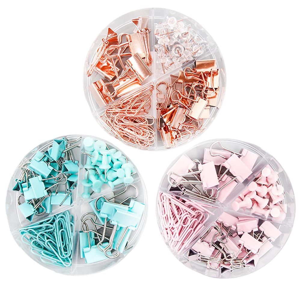 72Pcs Binder Clips Paper Clips Push Pins Setswith With Acrylic Box For Office School Supplies Folder Set