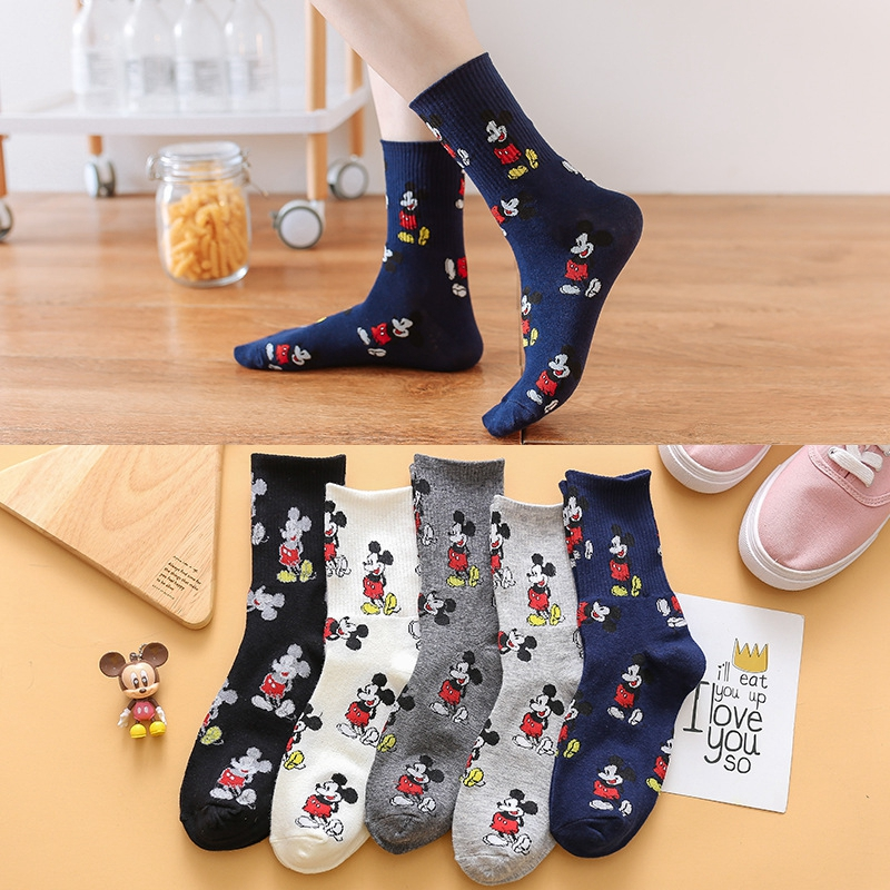 Korean Style Mickey Socks Fashion Novelty Warm Cartoon Mouse Sox Four Seasons Wild Comfortable Breathable Cotton Women Socks
