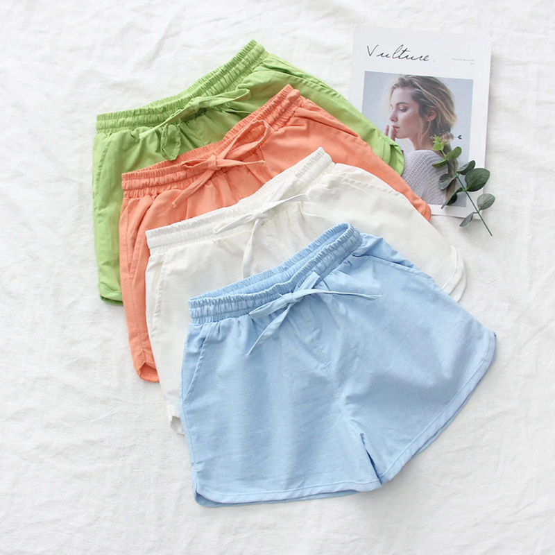 Casual Candy Color Bow Shorts Women Summer Solid Loose Hot Shorts Streetwears Female Fashion Simple Soft Wild Shorts Plus Size