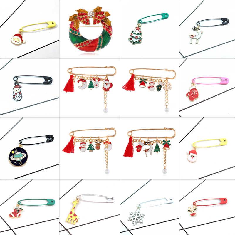 Warna Natal Swing Pin Jerapah Elk Pohon Natal Ruang Kepingan Salju Natal Sepatu Santa Manusia Salju Sarung Tangan Natal Pin Logam