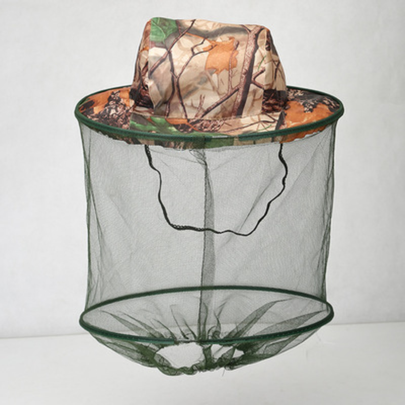 Camouflage Fishing Hat Bee Keeping Insects Mosquito Net Prevention Cap Mesh Fishing Cap Outdoor Sunshade Lone Neck Head Cover
