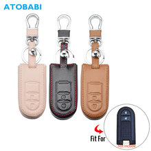Leather Car Key Case For Toyota Daihatsu TANTO LA600S Perodua 2 Buttons Smart Remote Control Protector Cover Keychain Holder Bag