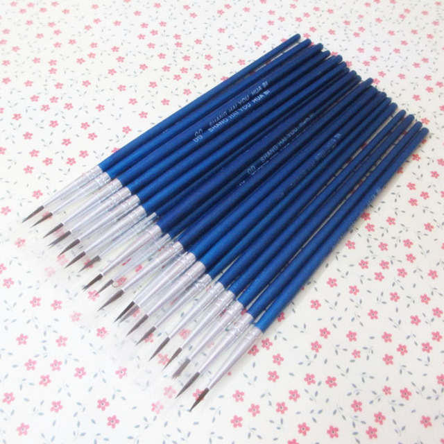10Pcs/Set Fine Hand-painted Thin Hook Line Pen blue Baton Drawing Art Pen Paint Brush Art Supplies Nylon Brush Special Offer 3