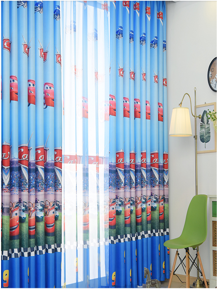 Window-Curtain Sheer-Tulle Cortina Bedroom Living-Room Blue Kids Cartoon Boys Children