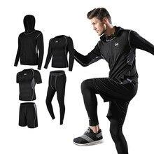 Conjunto de corrida para os homens ginásio roupas de fitness compressão ternos do esporte dos homens secagem rápida treinamento roupas esportivas respirável collants treino