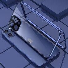 360 غلاف معدني مغناطيسي للامتصاص لهواتف iPhone 12 Mini 12 11 Pro XR X XS Max غطاء زجاجي مزدوج الوجهين واقي عدسات الكاميرا