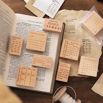 8 sztuk partia czas pieczęć serii znaczek DIY drewniane pieczątki do scrapbookingu papiernicze scrapbooking standardowy znaczek tanie i dobre opinie