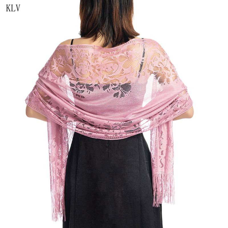 185x63cm Womens 1920s   Scarf     Wraps   Hollow Out Crochet Floral Lace Fringed Tassels Wedding Cape Evening Party Vintage Shawl