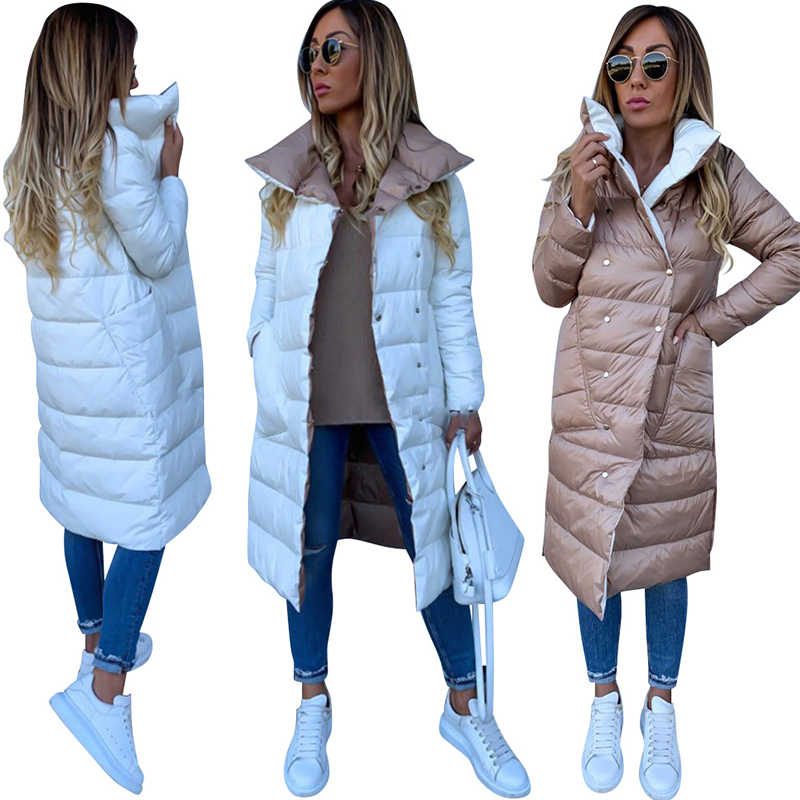 Women Double-sided Coat Winter Warm Long Jacket Casual Solid Colour Ladies Coat Outwear Cotton abrigos mujer invierno 2019 D20