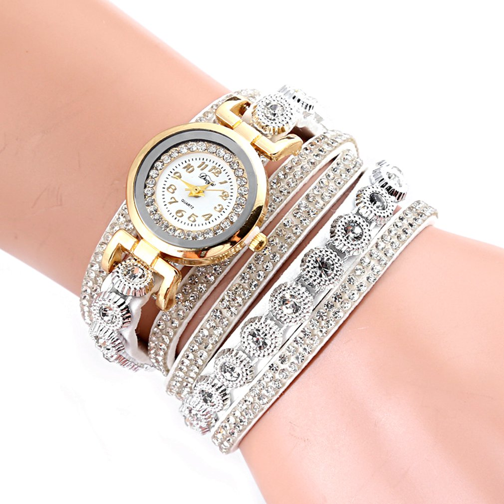 High Class Rhinestone Korean Velvet Band Women Wristwatch Watch Fashion Round Dial Quartz Wrist Watches