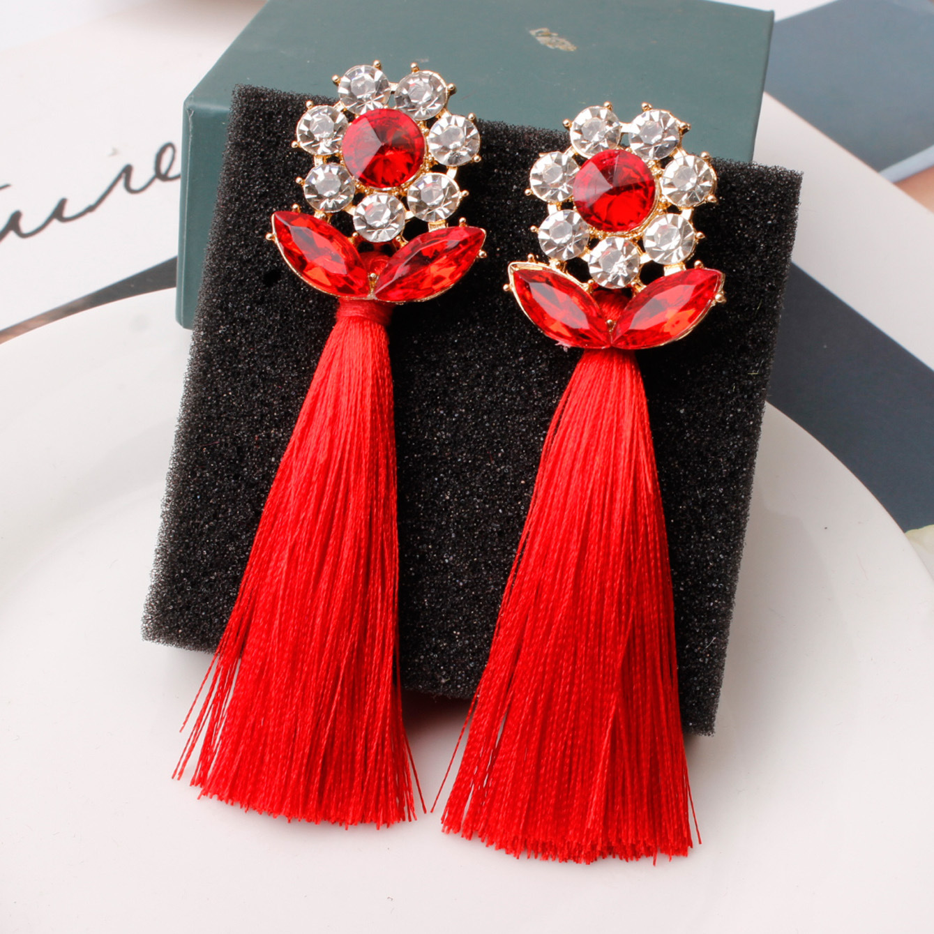 Top Quality Tassel Earrings For Women Crystal Statement Ear Rings Crystal Gift Wife Christmas Party Birthday Boucle D'oreille