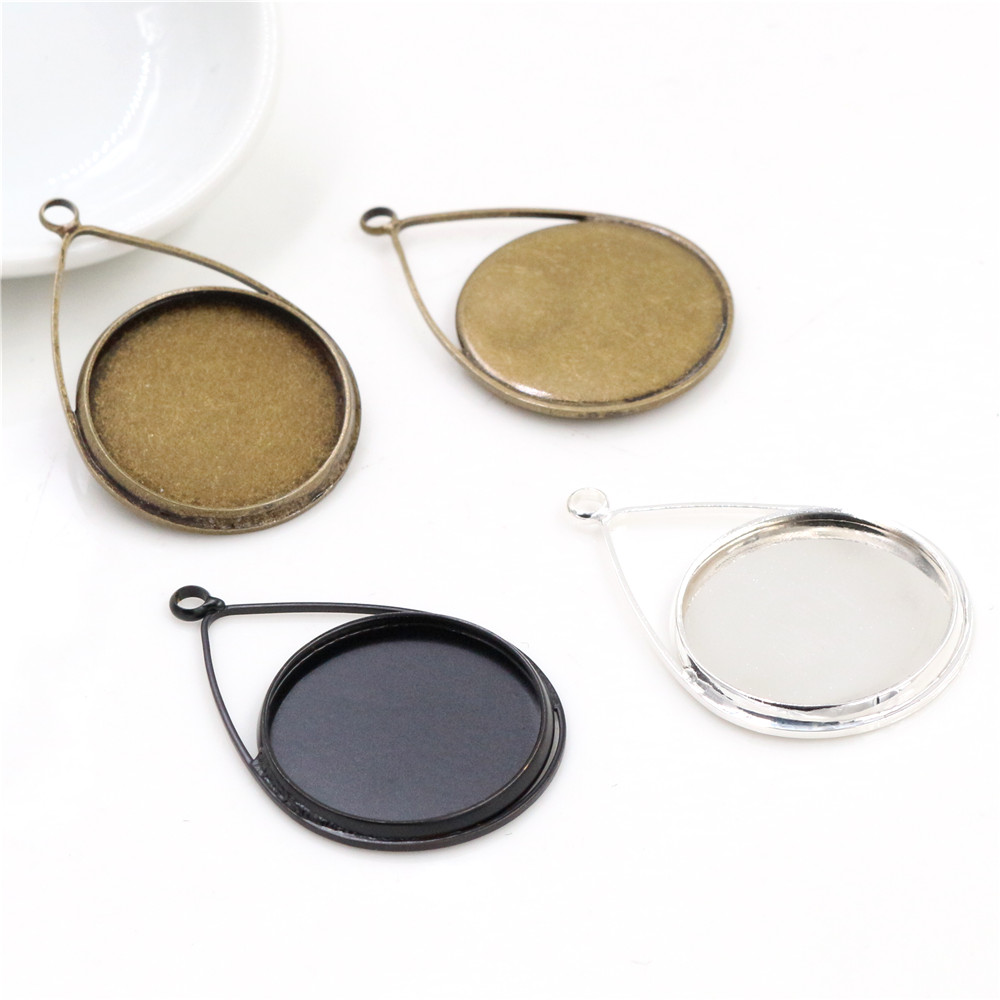 5pcs 20mm Inner Size Bright Silver And Bronze Black Copper Material Drop Style Handmade Cabochon Bases Cameo Base Pendant