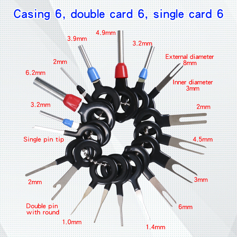 18PC Auto Plug Circuit Board Wire Beam Terminal Extraction Connector CLIP Back Needle Tool Auto Terminal Removal Tool Kit