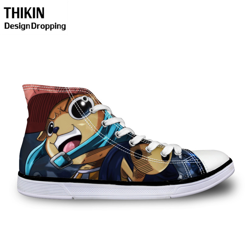 THIKIN Anime Cosplay ONE PIECE <font><b>3D</b></font> Printed High-top Canvas <font><b>Shoes</b></font> Cute Choba Luffy Vulcanize <font><b>Shoes</b></font> for Men Casual Lace Up Sneakers image