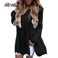 ADEWEL Black Pink Crochet Lace Trim Relaxed Plus Size Long Sleeve Women T Shirt Poleras Mujer De Moda Hollow Out Coat Tops XXL