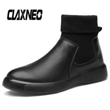 Buy CLAXNEO Man Boots Fashion Casual Leather Shoes Male Winter Boot Plush Fur Warm Walking Footwear Big Size directly from merchant!