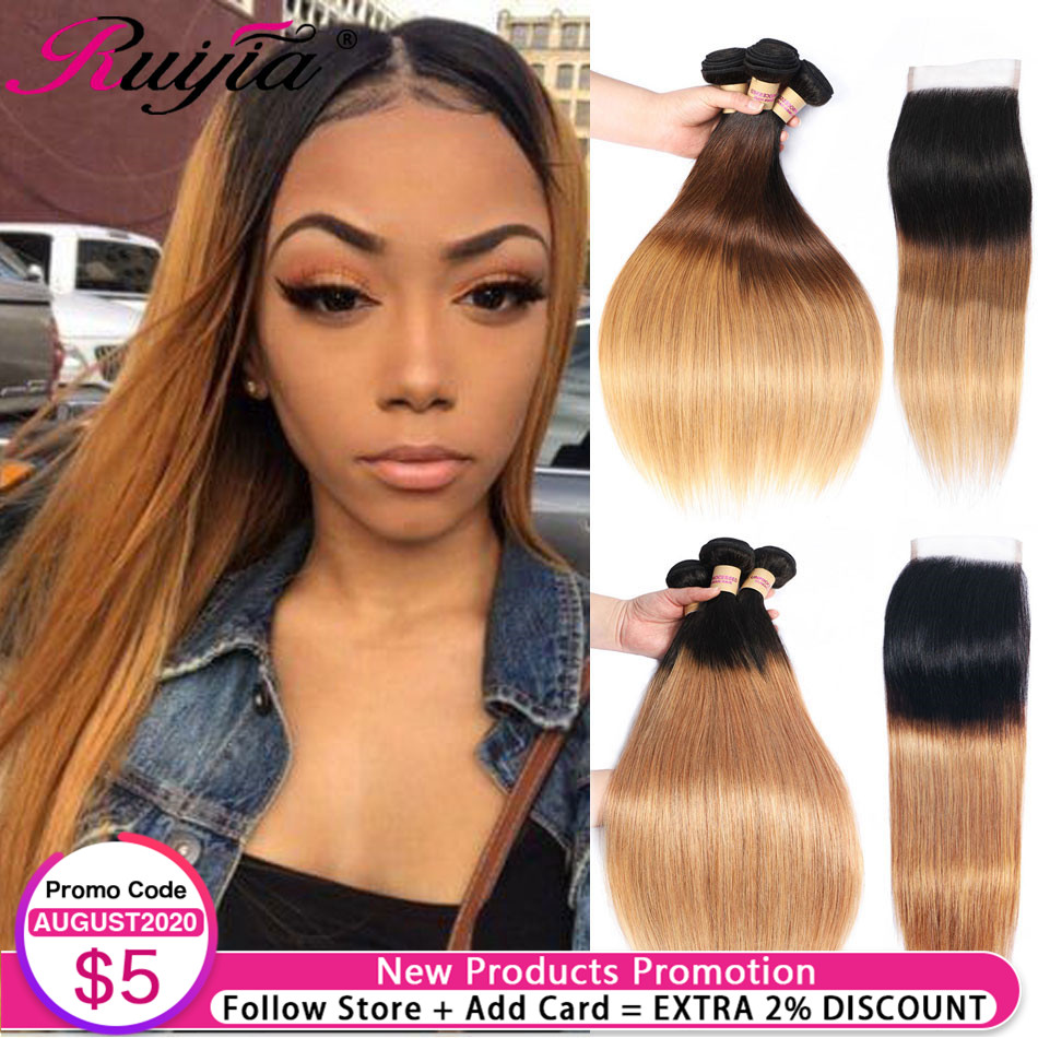 Hondy Blonde Bundles With Closure Peruvian Straight Hair Bundles With Closure Ombre Human Hair Bundles And Closure Blonde Bundle