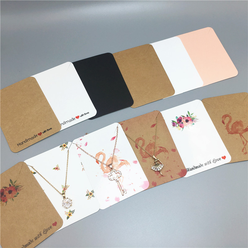 Multi Color Printed Flowers And Blank Kraft Paper Card Popular Necklace Jewelry Display Cards Package Card 7.8x5.6cm 10Pcs
