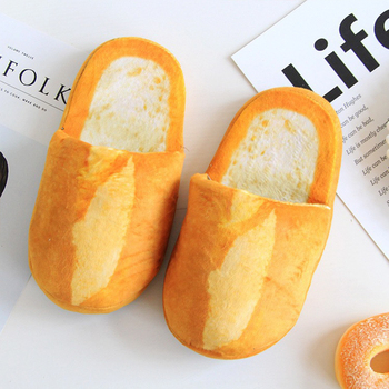 Women Pantufa 3D Bread Lovers Adult Slippers Indoor Floor Home Shoes Bedroom Warm Soft Slippers Pantunflas Para Mujer Chistosas yourokang cute home slippers unisex flock winter warm plush slippers fashion furry cotton shoes indoor bedroom cartoon pantufa