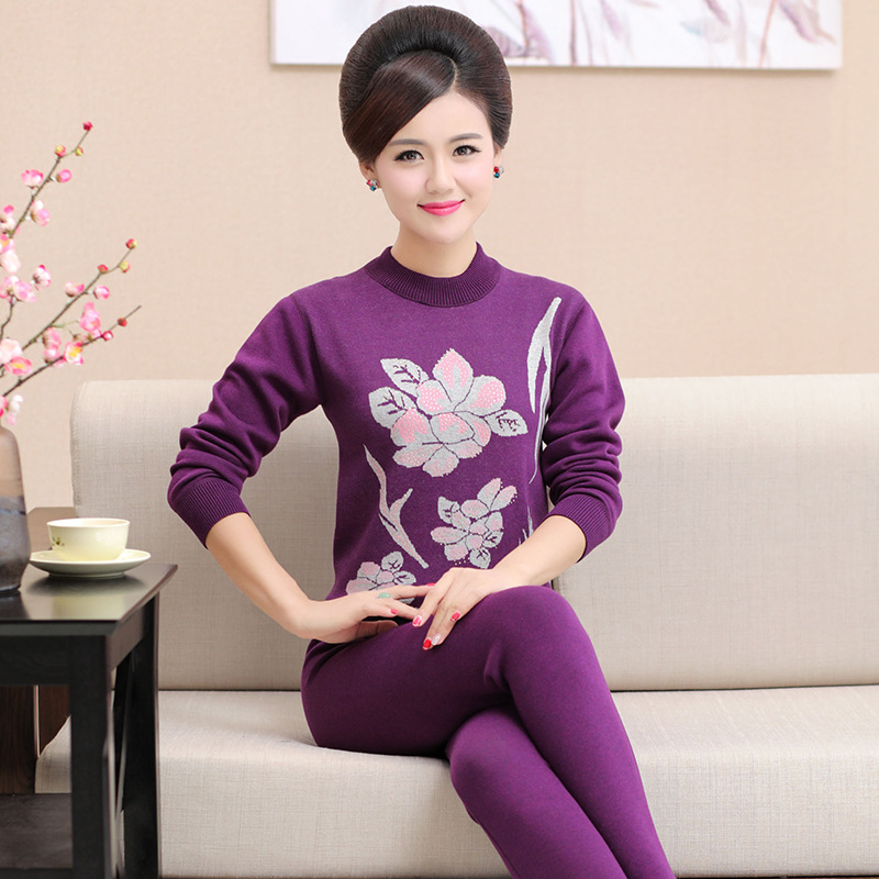 L-4XL Plus Size Turtleneck Printed Mother Thermal Underwear For Old Women Winter Long Johns Velvet Thick Cotton Female Warm Suit