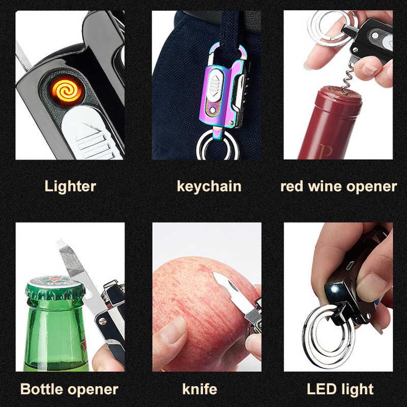 متعددة الوظائف الإبداعية ولاعة السجائر قابلة للشحن سكين الإلكترونية التنغستن توربو Usb ولاعات المفاتيح فتاحة