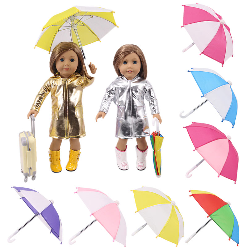Doll Cute Pattern & Solid Color Sun Umbrella Fit 18 Inch America&43 Cm Born Baby Doll Clothes Accessories Generation Girl's Gift(China)