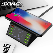 New Multi 8 Port Lcd USB Qi Wireless Charger For Iphone X 8 Plus Quick Charge 3.0 Fast Charger For Samsung S10 S9 S8 Xiaomi Mi 9